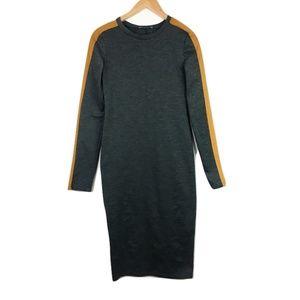 Zara Dresses - Zara Grey Bodycon Midi Dress w/ Racer-Stripe Sleev